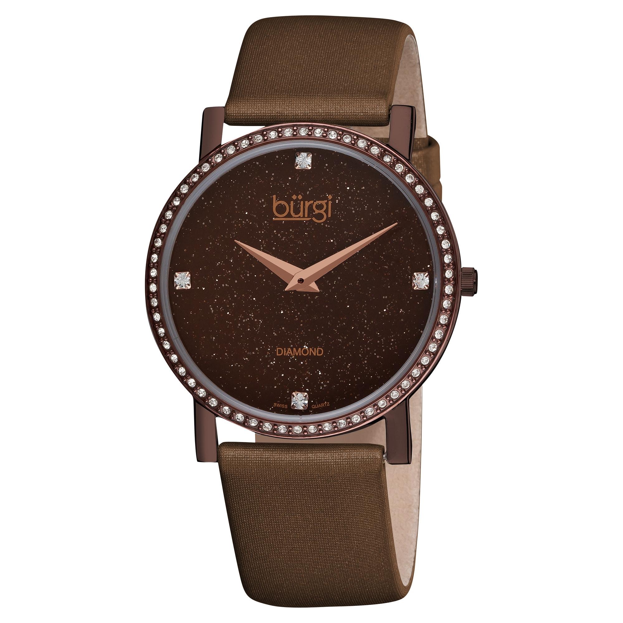 Burgi Women's Brown-dial Swiss Quartz Diamond Satin-strap Watch