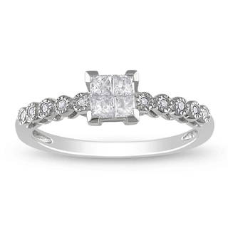 Miadora 14k White Gold 1/4ct TDW Princess-Cut Diamond Ring (G-H, I1-I2)