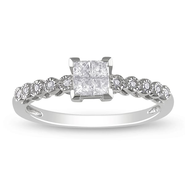 Miadora 14k White Gold 1/4ct TDW Princess-Cut Diamond Ring (G-H, I1-I2)