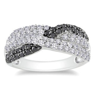 Miadora Sterling Silver 1ct TDW Black and White Diamond Ring (H-I,I3)