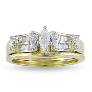 Miadora 14k Yellow Gold 1/2ct TDW Diamond Bridal Ring Set (G-H, I1-I2)