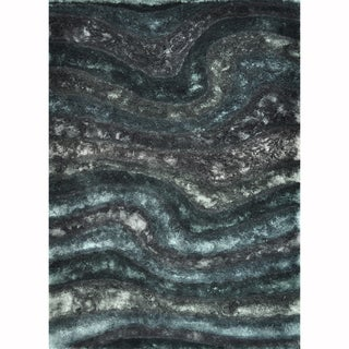 Hand-woven Perseus Black Rug (7'10 x 11'0)