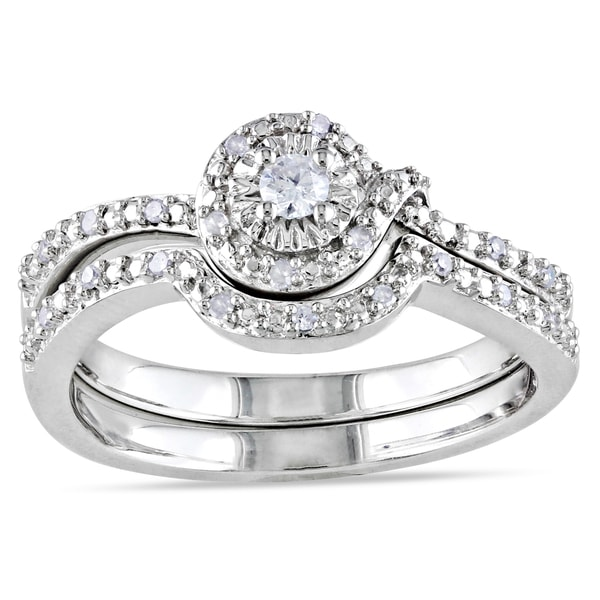 Miadora Sterling Silver 1/7ct TDW Diamond Bridal Ring Set (G-H, I2-I3)