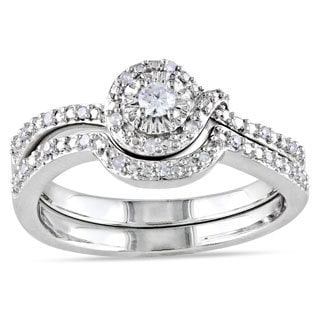 Miadora Sterling Silver Diamond Bridal Set (H-I, I2-I3)