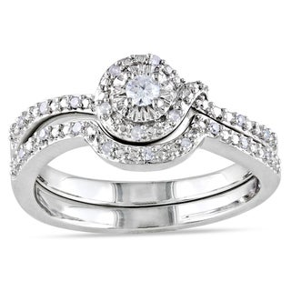 Miadora Sterling Silver 1/6ct TDW 2-Piece Diamond Ring Set (H-I, I2-I3)