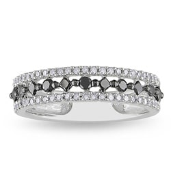 Miadora 10k White Gold 1/2ct TDW Black and White Prong-set Diamond Ring (H-I, I2-I3)