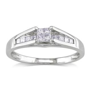 Miadora 14k White Gold 1/3ct TDW Princess Cut Diamond Ring (G-H, I1-I2)