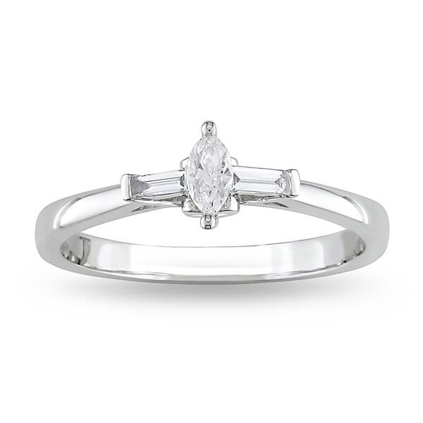 Miadora 10k White Gold 1/4ct TDW Diamond Promise Ring (G-H, I1-I2)