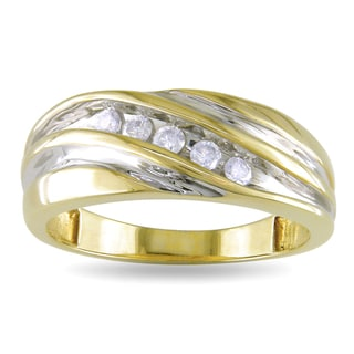 Miadora 10k Yellow Gold Men's 1/4ct TDW Diamond Ring (H-I, I2-I3)