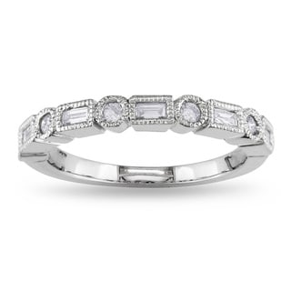 Miadora 14k White Gold 1/4ct TDW Diamond Semi Eternity Ring (G-H, I1-I2)