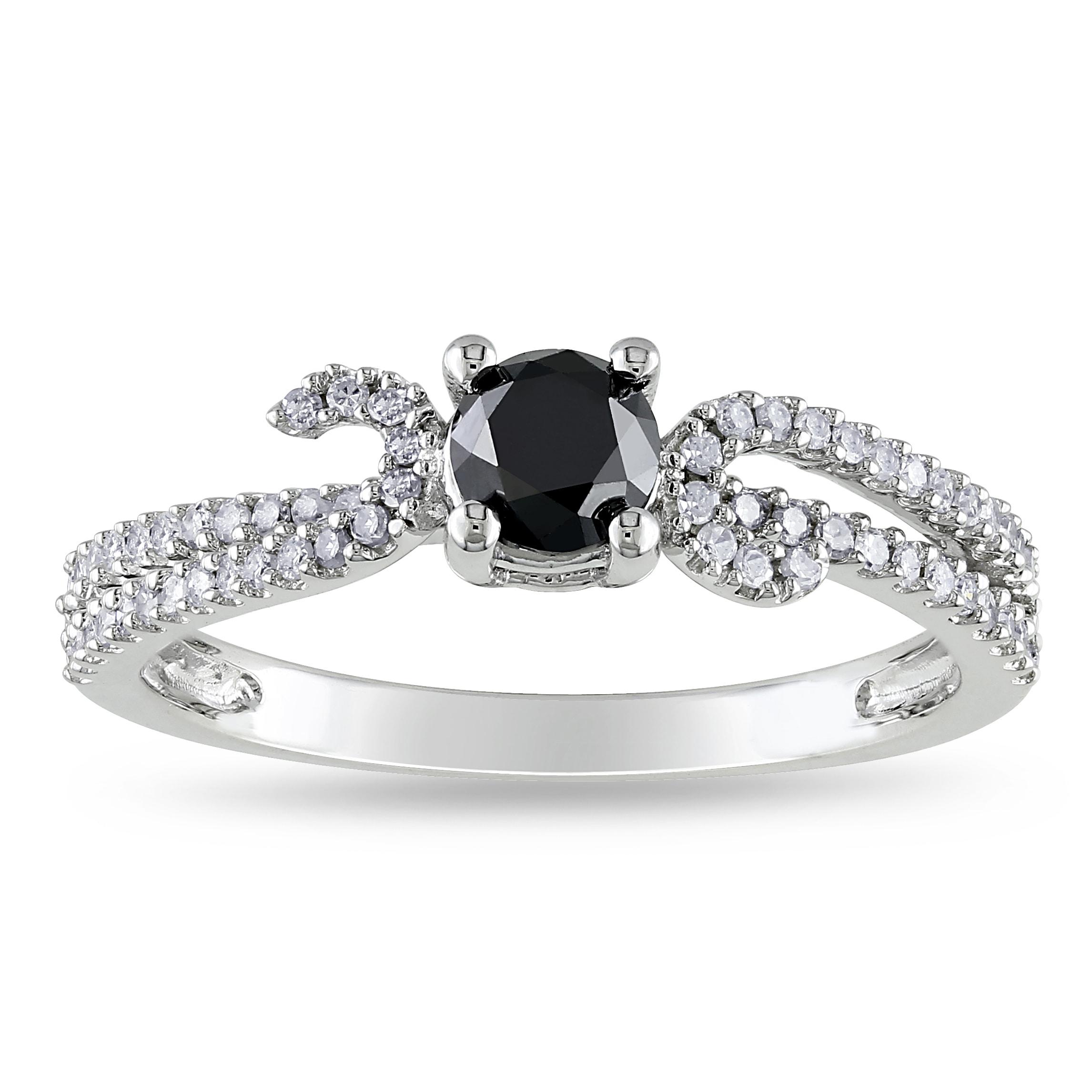 Miadora 14k White Gold 3/4ct TDW Black and White Diamond Ring (H-I, I2-I3)