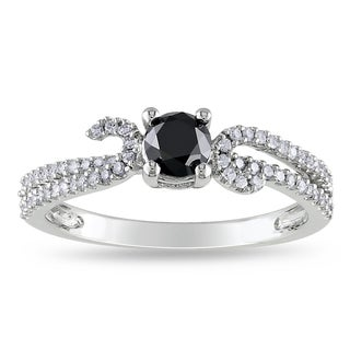 Miadora 14k White Gold 3/4ct TDW Black and White Diamond Ring (H-I, I2-I3)