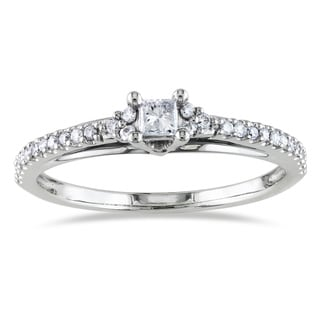 Miadora 14k White Gold 1/4ct TDW Princess Cut Diamond Ring (G-H, I1-I2)