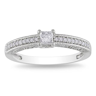 Miadora 14k White Gold 1/4ct TDW Diamond Engagement Ring (G-H, I1-2)