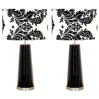 Casa Cortes Regency Black and White 24-Inch Table Lamp (Set of 2)