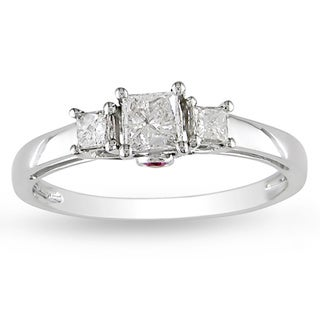 L'Amour En Rose by Miadora 14k White Gold 1/2ct TDW Diamond and Pink Sapphire Ring (G-H, I1-I2)