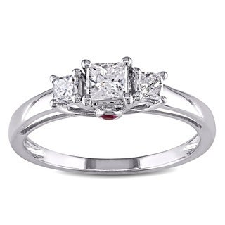 Miadora 14k White Gold 1/2ct TDW Diamond and Pink Sapphire Ring (G-H, I1-I2)