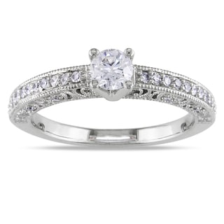 Miadora 14k White Gold 1/2ct TDW Diamond High-polished Engagement Ring (G-H, I1-I2)
