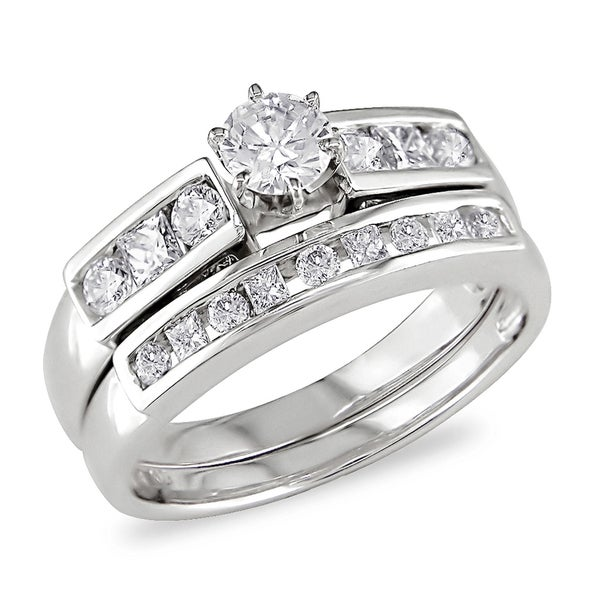 Miadora 14k White Gold 1ct TDW Diamond Bridal Ring Set (H-I, I2-I3)