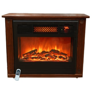 Lifesmart 1000 Square Foot Infrared Dark Oak Fireplace
