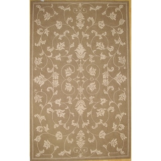 Hand-hooked Modern Medium Brown Rug (5' x 8')