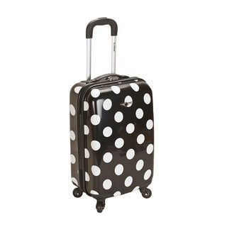 Rockland Black Polka Dot 20-inch Lightweight Hardside Spinner Carry-on Luggage