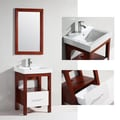 Ceramic-Top Single-Ceramic-Sink Bathroom Vanity with Matching Mirror