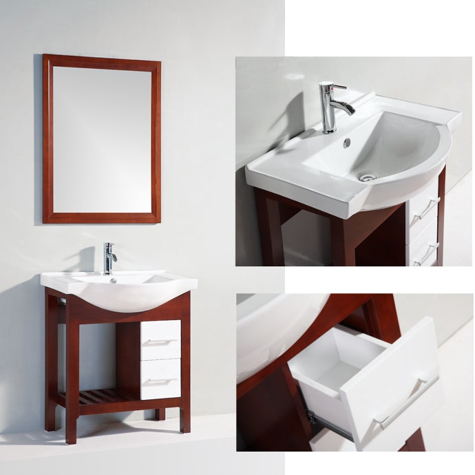 Ceramic Top Single Sink Bathroom Vanity with Matching Mirror