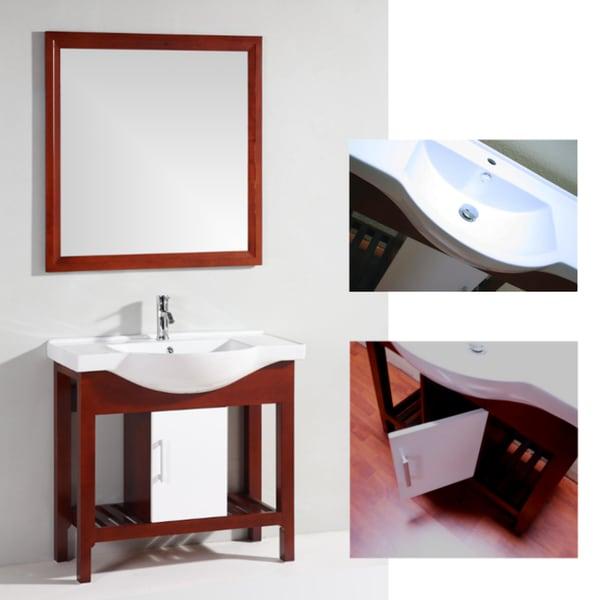 Brown Ceramic-Top Single-Sink Bathroom Vanity with Matching Mirror