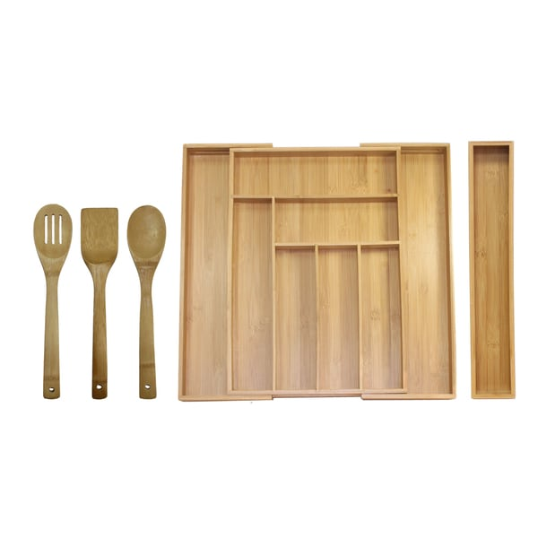 Oceanstar 5-piece Bamboo Expandable Drawer Utensil Organizer Set