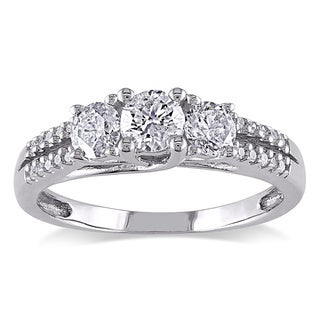 Miadora 10k White Gold 1ct TDW Diamond Three-stone Ring (H-I, I2-I3)