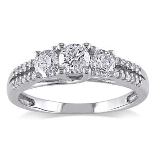 Miadora 10k White Gold 1ct TDW Diamond Three-stone Ring (H-I, I2-I3)