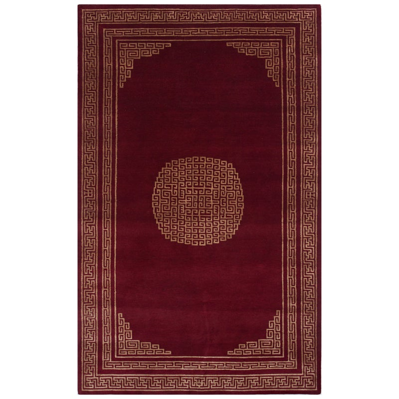 Indo-tibetan Abstract Red Wool/ Silk Rug (5' x 8')