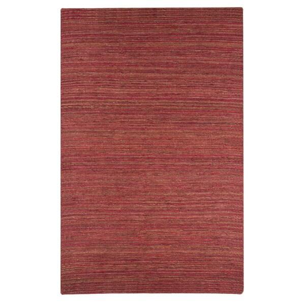 Hand-woven Solid Red Orange Hemp Rug (5' x 8')