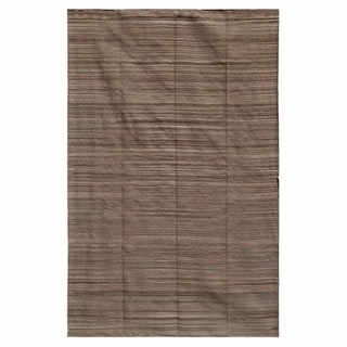 Flat-weave Solid Mushroom Cotton Rug (5' x 8')