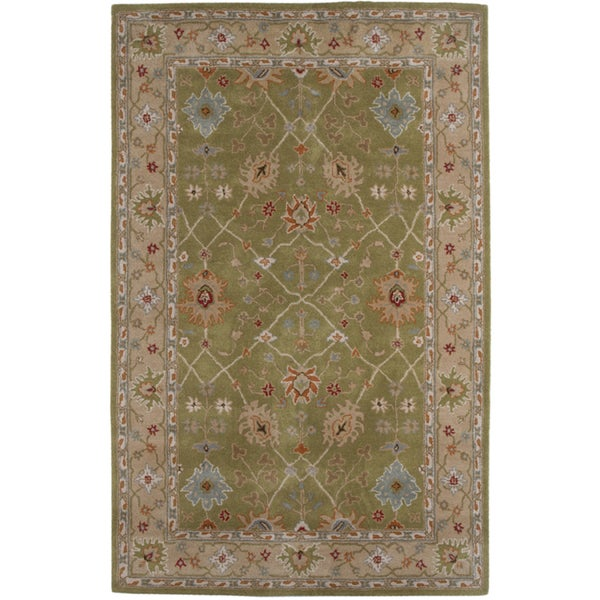 Hand-tufted Oriental Paradise Green Wool Rug (2' x 3')