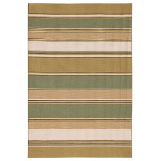 Flat-weave Stripe Bronze Green Wool Rug (8' x 10')