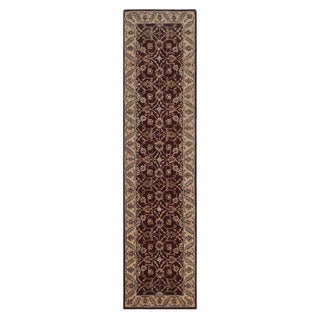 Hand-tufted Oriental Plum Wool/ Cotton Rug (3' x 12')