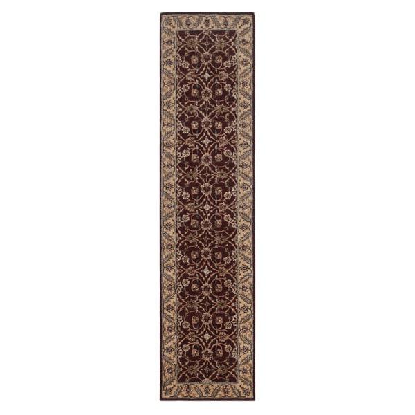 Hand-tufted Oriental Plum Wool/ Cotton Rug (3' x 12')