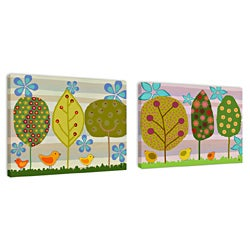 Ankan 'Canvas Tree Set' Gallery-wrapped Canvas Art