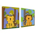 Ankan 'Tiger and Lion Set' Gallery-wrapped Canvas Art