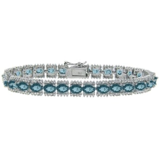 Dolce Giavonna Sterling Silver 45ct TGW London Blue Topaz and Diamond Accent Bracelet