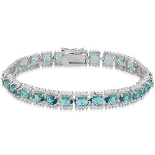 Dolce Giavonna Sterling Silver 15ct TGW London Blue Topaz and Diamond Accent Bracelet with Red Bow Gift Box
