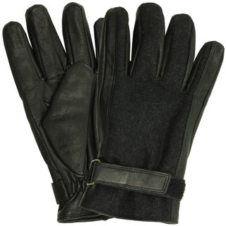 Isotoner Men's Leather Insulated Lined Winter Gloves