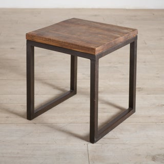 Cordova Reclaimed Wood and Iron Side Table (India)