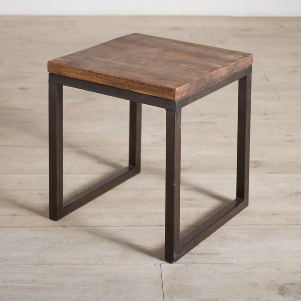 Cordova reclaimed wood and iron side table india for Iron and wood side table