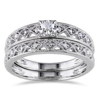 Haylee Jewels Sterling Silver 1/10ct TDW Vintage Diamond Bridal Set (H-I, I2-I3)