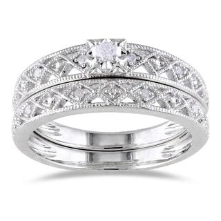 Miadora Sterling Silver 1/10ct TDW Vintage Diamond Bridal Set (H-I, I2-I3)