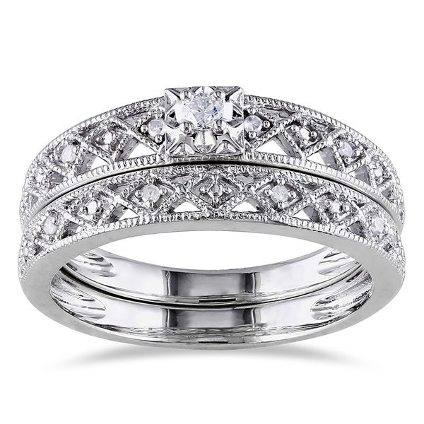 Miadora Sterling Silver 1/10ct TDW Vintage Diamond Filigree Bridal Ring Set (G-H, I2-I3)