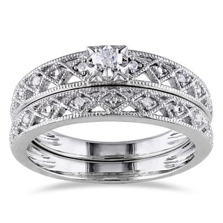 Miadora Sterling Silver 1/10ct TDW Vintage Diamond Bridal Set (H-I, I2-I3)